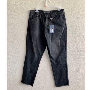"""High waisted off- black cut off """"mom jeans"""""""